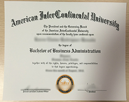 American InterContinental University(AIU) diploma sample, buy fake degree in USA