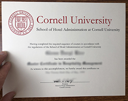 Cornell University School Of Hotel Administration Diploma Certificate.