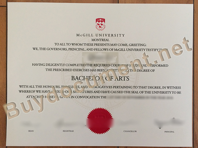 McGill University degree sample, McGill University diploma order
