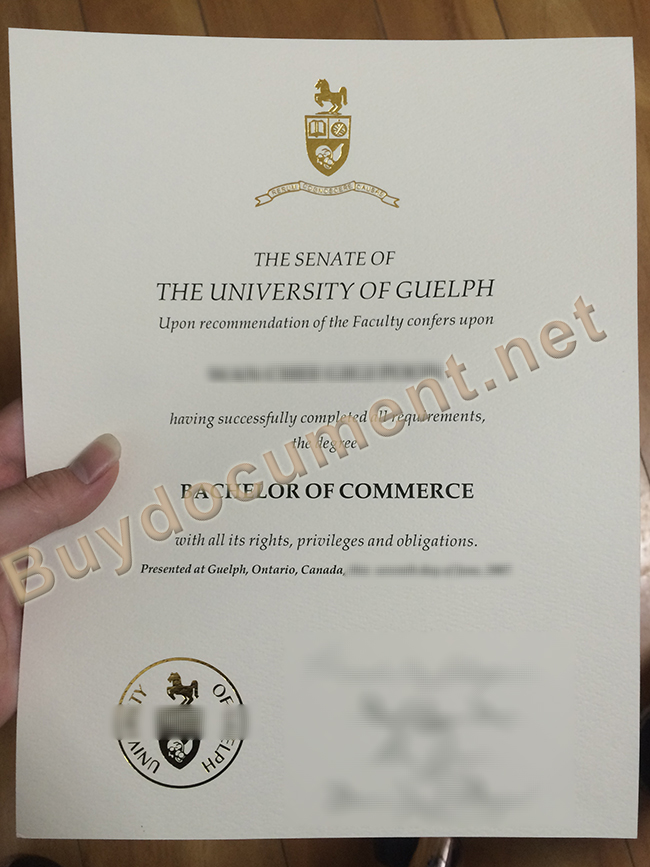 University of Guelph degree sample, University of Guelph diploma