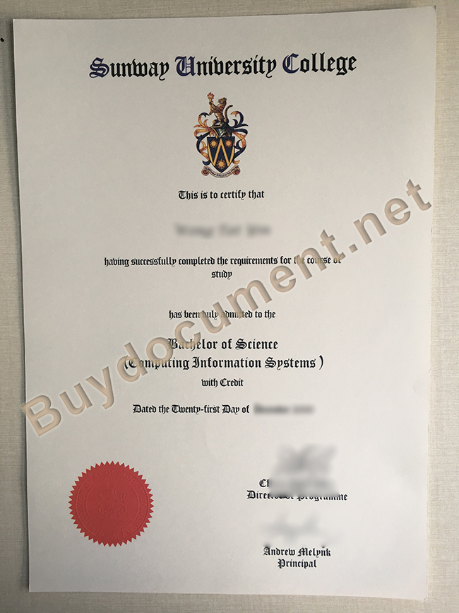 Sunway University degree sample, Sunway University diploma order