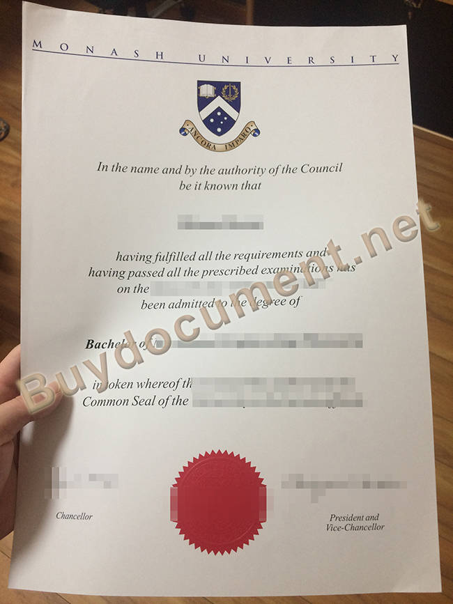 fake Monash University degree, Monash University diploma sample