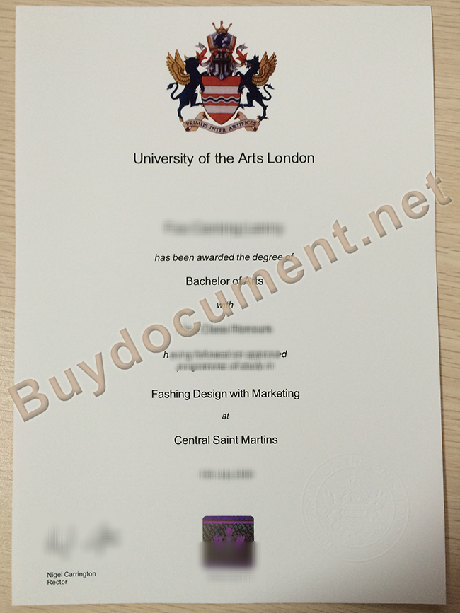 fake University of the Arts London diploma, University of the Arts London degee sample