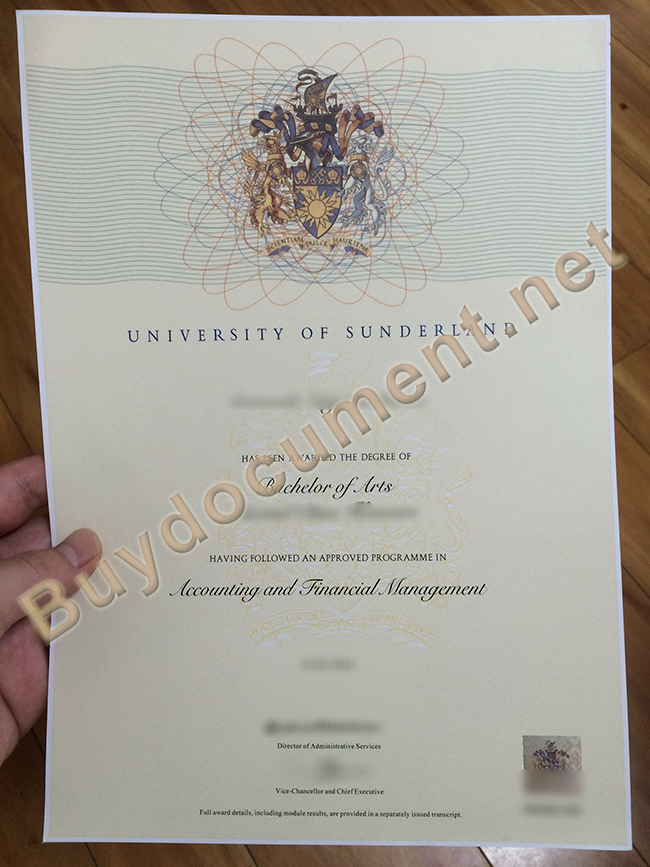 University of Sunderland degree sample, University of Sunderland diploma order
