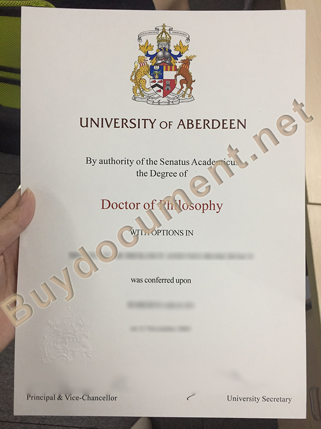 University of Aberdeen degree sample, University of Aberdeen diploma order