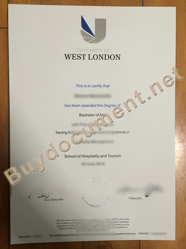 University of West London fake diploma, University of West London degree