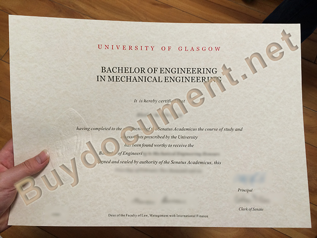 University of Glasgow fake diploma, University of Glasgow degree sample
