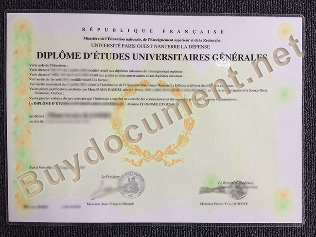 Université Paris X degree sample, Université Paris X diploma order