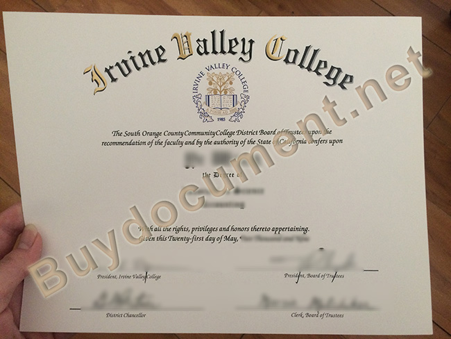 Irvine Valley College fake diploma, Irvine Valley College degree sample