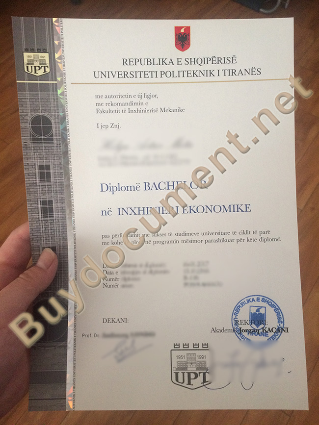 Polytechnic University of Tirana diploma, Polytechnic University of Tirana degree