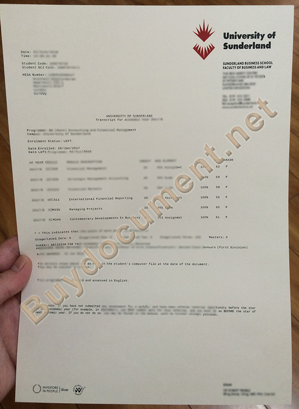 buy fake diploma, University of Sunderland fake transcript