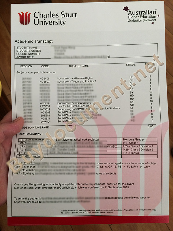 fake Charles Sturt University transcript, buy fake diploma