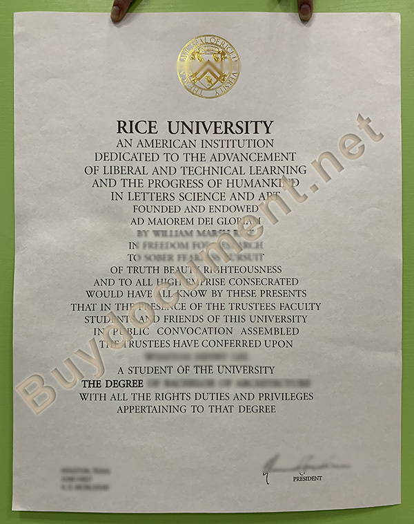 fake Rice University diploma, buy US fake degree