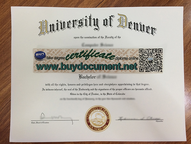 University of Denver diploma, University of Denver degree, fake certificate