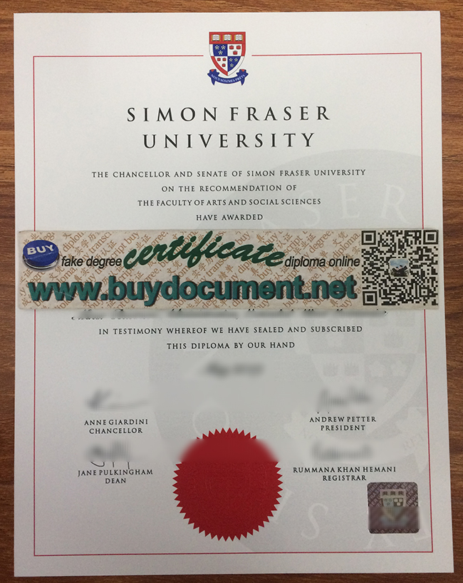 Simon Fraser University diploma, fake SFU degree, Simon Fraser University certificate